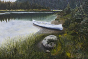 "Canoe in the Monashees 24"" x 36"" (acrylic)  SOLD"