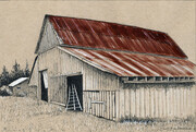 "Comox Valley Barn  6x9""  (ink on toned paper) Sold"