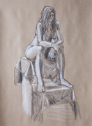 Figure Drawing (charcoal and chalk on toned paper)