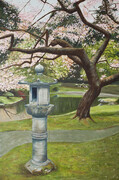 "Lantern and Cherry Tree  24"" x 36"""