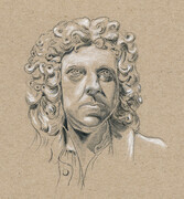"Man with a Wig  6""x 7""   (graphite and conte)"