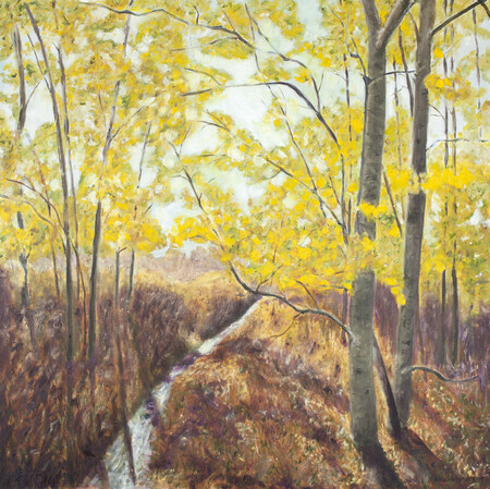 "Poplars in the Fall 30"" x 30"""