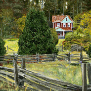 Salt Spring Island Farm  (acrylic)  SOLD