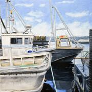 "Working Boats  12"" x 12"" (oil)"